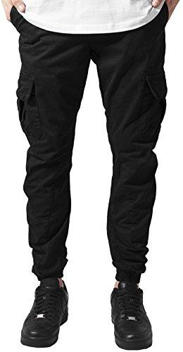 Urban Classics TB1268 Herren Hose - Cargo Jogging Pants, lange Cargohose eng für Männer und Jungen, Schwarz (Black 7), Gr. L