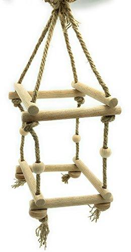 Vitezza Leitergerüst 2stufig hängend aus 8 geriffelten Buchenrundstäben (15cm/18mm), Hanfseil (8mm), 4 Spielkugeln sowie 4 Holzscheiben aus Buchenholz für Wellensittiche, Nymphensittiche und Co. - inklusive Befestigungsmaterial aus Edelstahl