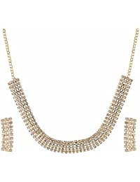 Archi Collection Designer Gold Plated Crystal Stylish Necklace Jewellery Set With Dangler Earrings For Girls - B071JRQJ3T