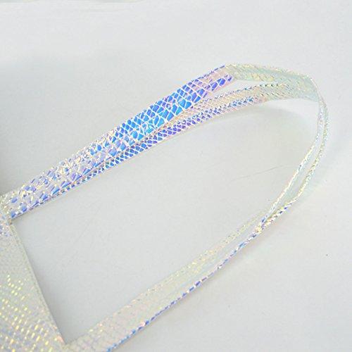 Milya Neue Mode Damen Mädchen Handtasche Shopper Umhängetasche Schultertasche mit Glänzende Schlangenhaut Muster Hell Mehrfarbig