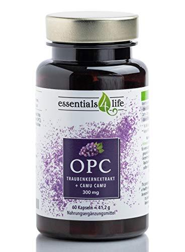 OPC Traubenkernextrakt hochdosiert - vegan mit Vitamin C aus Camu Camu-Extrakt - 60 Kapseln je 300mg - Nahrungsergänzung Resveratrol ohne Zusatzstoffe