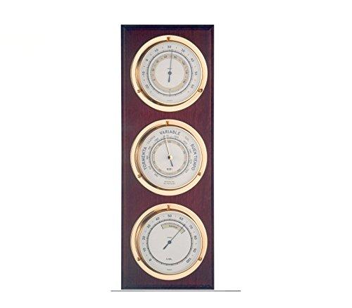 Baromètre et station météo en bois nautique 40cm, station météo intérieur extérieur. 3montres, baromètre, hygromètre, thermomètre.