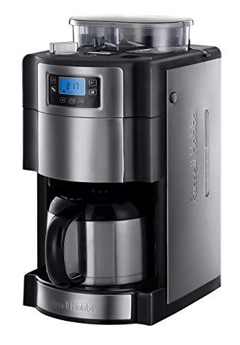Russell Hobbs Grind & Brew - Cafetera de Goteo Jarra Cafetera Térmica para 10 Tazas, 1000 W, Gris...
