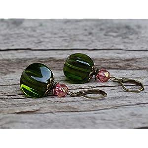 WIEDER DA!!!! Vintage Ohrringe mit böhmischen Glasperlen - grün rosa pink & bronze