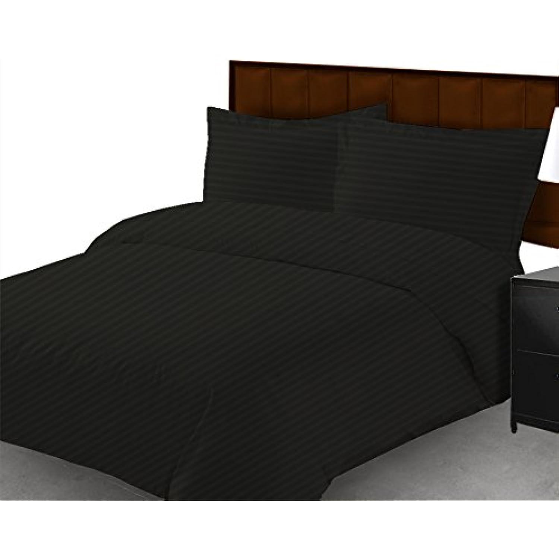 Dreamz Étui Parure de lit drap de lit 650-thread-count 650-thread-count 650-thread-count Lot de 6 (une poche profonde: 53,3 cm) UK Double, Noir à rayures 100% coton égyptien 607a60