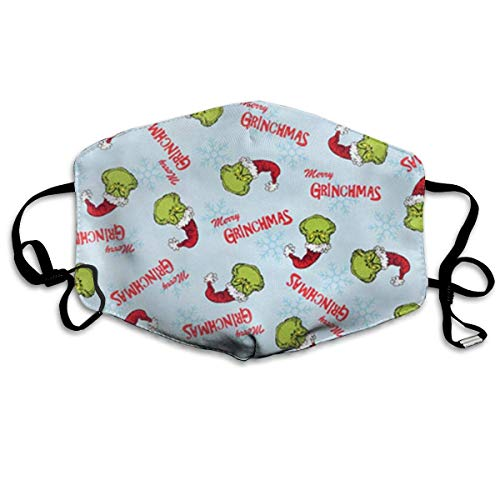 Vbnbvn Unisex Mundmaske,Anti Staub Schutzhülle,Christmas Merry Grinchmas Pattern Allergy & Flu Mask - Comfortable, Washable Protection from Dust, Pollen, Allergens, with Antimicrobial; Asthma Mask -