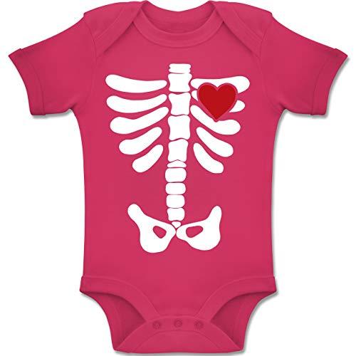 Baby - Skelett Herz Halloween Kostüm - 1-3 Monate - Fuchsia - BZ10 - Baby Body Kurzarm Jungen Mädchen ()
