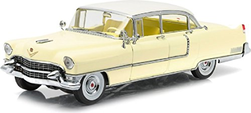 greenlight-collectibles-12937-cadillac-fleetwood-serie-60-1955-echelle-1-18-jaune-toit-blanc