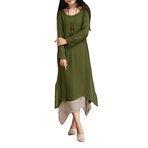 Romacci Damen Baumwollleinenweinlese Kleid Double Layer Beiläufige Lose Boho Lang Plus Größe Retro Maxi-Kleid (Maxi-kleid Plus)