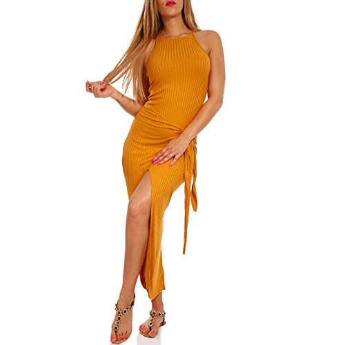Young-Fashion Damen Trägerkleid in Wickeloptik Geripptes Strandkleid Freizeit Sommer-Frühling, Farbe:Senf, Größe:One Size - Herrliche Gerippte Jersey