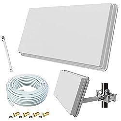 netshop 25 Megasat H30D1+ Flachantenne Single + 10m Kabel + Fensterhalterung + Fensterdurchführung + F-Stecker (Sat Anlage für 1 Teilnehmer)