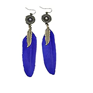 Imported 1 Pair Blue Feather Punk Party Earrings Hanging Hook Ladies Fashion Jewelry