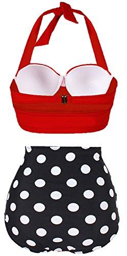 Amourri Damen Retro Bikini im Retro-Look mit Bügel-BH -