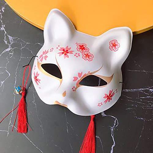 Mascarade Handgemalte Fuchs-Dämonmaske für Männer und Frauen, halbes Gesicht kleine Fuchsmaske, Katzengesichts-Cosplay-Ballmaske, grüne PVC-Maske (Farbe : E) - Für Maskerade-masken Männer Weiße