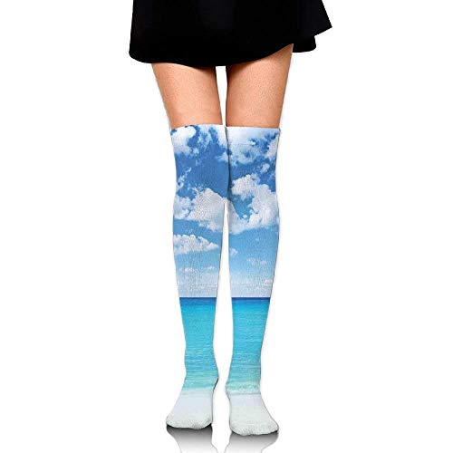 OQUYCZ Womans Surreal Tropical Seascape with Dreamy Sea and Sky Paradise Coast Hawaiian Art College Style High Boot Socks