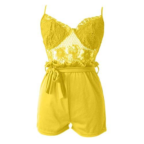 MOTOCO Damen Einfarbig Weste Casual Jumpsuit Set Shorts Größe 40-48(S(40),Gelb) -