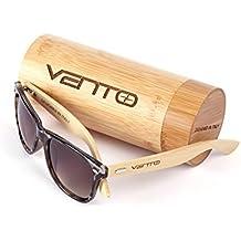 Vento Eyewear® modelo Chinook Jaguar&Tea - Gafas de sol de madera de bambú, diseñadas en Italia con certificados CE y protección UV400, Marco leopardo lentes marrón