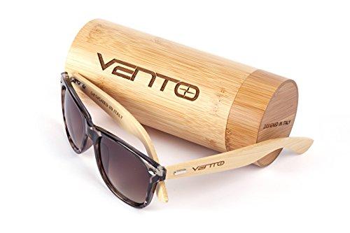 Vento Eyewear® Modell Chinook Jaguar&Tea - Sonnenbrille aus Bambus/Holz, Entworfen in Italien, mit CE-Zertifikat und UV400 Schutz, Leopard Rahmen braun Objektiv of Polycarbonate