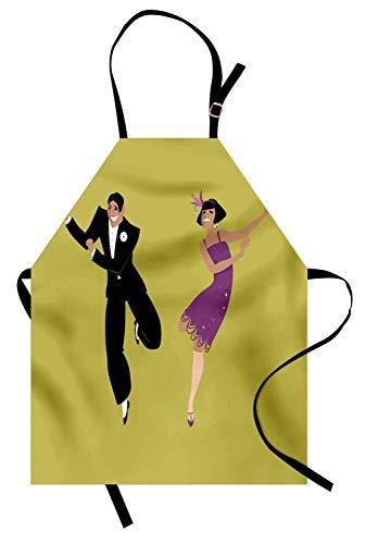 Tanzschürze, glückliches junges Paar in den 1920er Jahren gekleidet Mode Tanzen The Charleston, Unisex-Küche Latzschürze mit verstellbarem Hals zum Kochen Backen Gartenarbeit, Pistaziengrün Violett ()