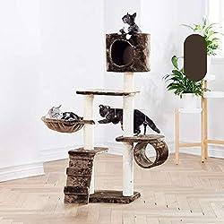 XF Tour Cat Tree, Tour Cat Luxury avec Condos, Perche spacieuse, Poteau en sisal à gratter entièrement enveloppé et balles suspendues remplaçables , Plusieurs Couleurs Disponibles (Color : F)