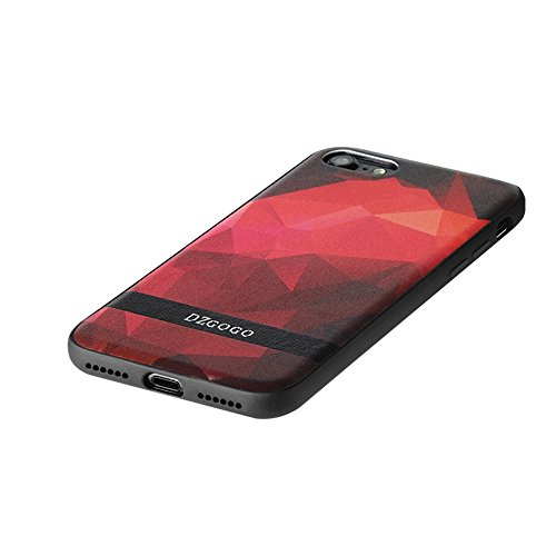 Mobiltelefonhülle - DZGOGO TOUCH Serie für iPhone 7 TPU + PU + PC Unregelmäßiger Rhombus Texture Combination Schutzhülle ( Farbe : Blau ) Rot