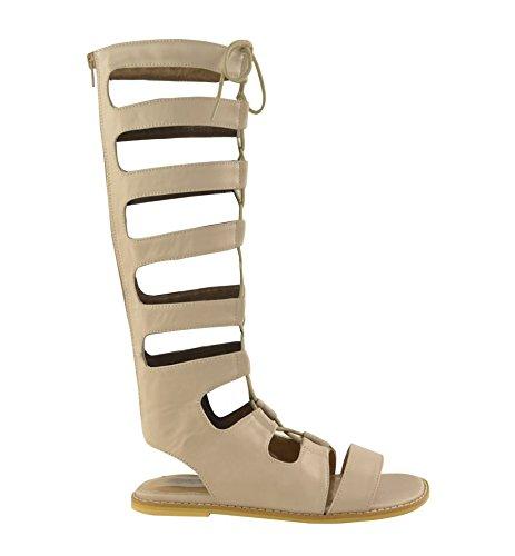 Mesdames Femmes Genou Plat Haute Découpe Gladiator Strappy été Chaussures Taille Nude Faux Leather