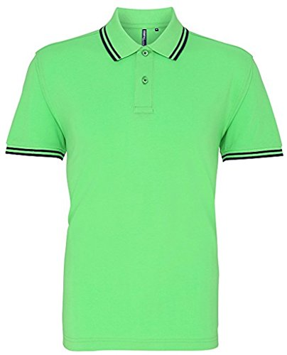 Men's Classic Fit-Tipped Polo * Farbe: verschiedene Farben * Gr.S-3XL Lime/Navy