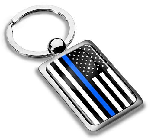 Schlüsselanhänger Metall Keyring Autoschlüssel Geschenk Metall-Schlüsselanhänger Schlüsselbund Edelstahl USA Flagge United States Vereinigte Staaten Thin Blue Line Dünne Blaue Linie, KK 232