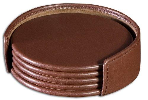Runde Leder Coaster (Dacasso Untersetzer-Set, Leder, Schokoladenbraun)