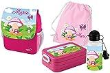 Mein Zwergenland Set 5 Kindergartenrucksack mit Brotdose Maxi, Turnbeutel Baumwolle und Flasche Happy Knirps Next Print mit Name Eule Pilz, 4-teilig, Pink