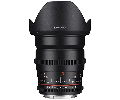 Samyang F1312809101 - Objetivo para vídeo VDSLR para Micro Cuatro Tercios (Distancia Focal Fija 24mm, Apertura T1.5-22 ED AS IF UMC II, diámetro Filtro: 77mm), Negro