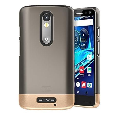 Motorola Droid TURBO 2 Case, Encased (SlimSHIELD Edition) Ultra Slim Cover (full coverage) Hybrid Slider Shell (Metallic Gray)