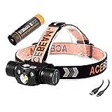 ACEBEAM H30 superhelle Stirnlampe USB-c aufladbarer, Cree XHP70.2 LED 4000 Lumen. Es verfügt über weißes, grünes und rotes Licht. DASS H30 auch als Ladestation verwenden können
