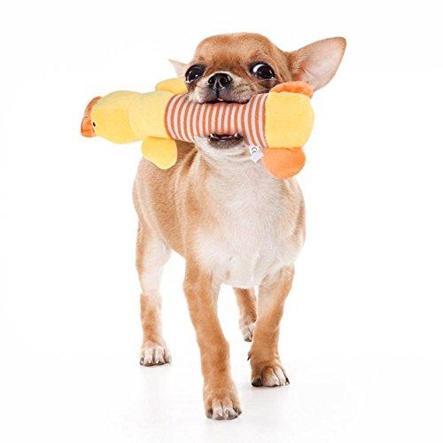 Filfeel Hundespielzeug Quietschspielzeug Plüsch Squeaky Toy Tierform Typen Pet Toy Puppy Cat Kauen Sound Fun Haut Stuffless Great für Tug & Interaktives Spielzeug Geschenk(Gelbe Ente)