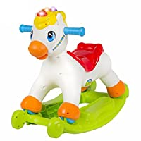 Early Education 18 Months Olds Baby Toy Musical Educational Rocking Horse Ride On Rollers with Music Light Sliding Toy Children Learn ABC Shapes and Numbers For baby & Kids Boys and Girls