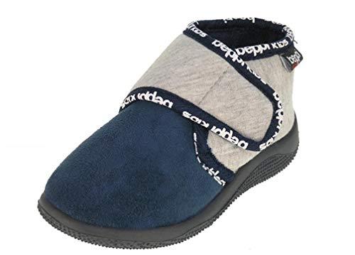 Beppi Kinder Hausschuhe Baby Schuhe - Lauflernschuhe mit Klett, Navy, 19