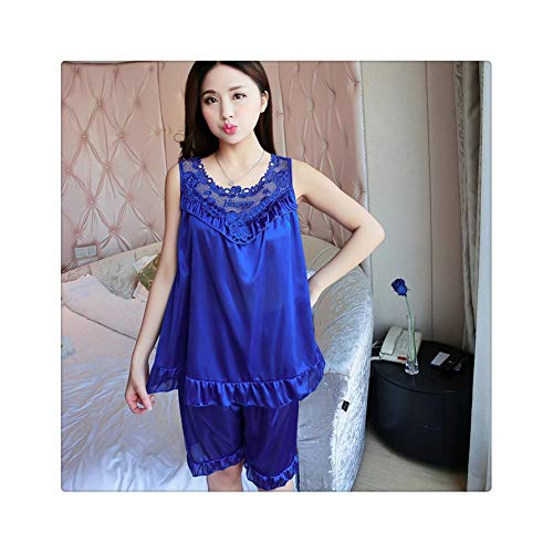 Ladies Sexy Short Sleeved Nightgowns Summer New Women's Pyjama Feme Ice Silk Female Pajamas Lace Loose Home Clothes Women 324 bao LAN One Size