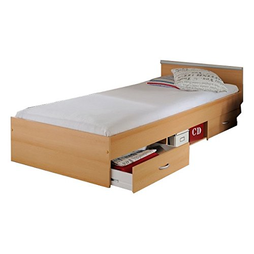 Funktionsbett Alawis 90*200 cm buche beige inkl 2 Roll-Bettkästen Kinderbett Jugendbett Jugendliege Bett Jugendzimmer Kinderzimmer Bettliege