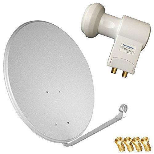 Bundle by netshop 25 HD Sat Anlage 60 cm Spiegel + 20m Kabel + HD Twin LNB für 2 Teilnehmer (3 Farben wählbar)