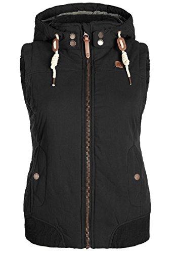 DESIRES Lewise Damen Weste Übergangsweste mit Stehkragen und Kapuze aus hochwertiger Baumwollmischung Black (9000)