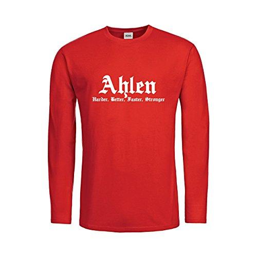 MDMA Kids T-Shirt Longsleeve Ahlen Harder, Better, Faster, Stronger N14-mdma-ktls00311-60 Textil red / Motiv weiss Gr. 164