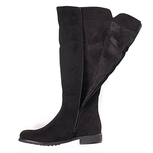 Ideal Shoes- Stivali Aurane effetto camoscio a strass Nero