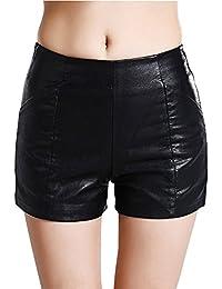 Donne Pu Pantaloncini A Vita Alta Shorts Casuale Pelle Sintetico 769c8ffc96f