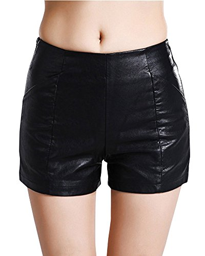 Femme PU Cuir Shorts Sexy Simili Cuir Mini Shorts Élastique Pantalon Court Noir S