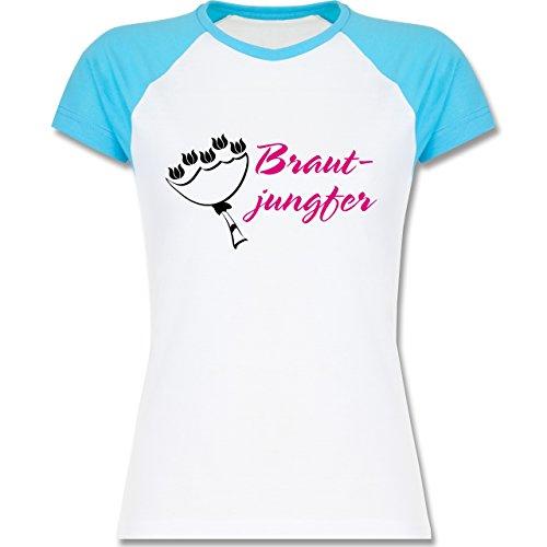 JGA Junggesellinnenabschied - Brautjungfer - zweifarbiges Baseballshirt / Raglan T-Shirt für Damen Weiß/Türkis