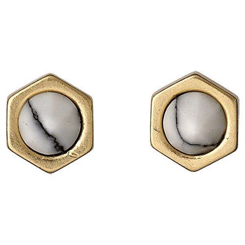 Pilgrim Jewelry Damen-Ohrstecker Messing Kunststoff Uneven weiß 111422003
