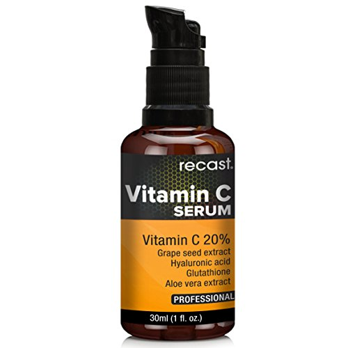 Vitamin C Serum with Hyaluronic Acid and Glutathione For Face From Recast - Best For Pigmentation, Skin Whitening, Anti-ageing, Anti-wrinkles, Acne-spots & Age-spots