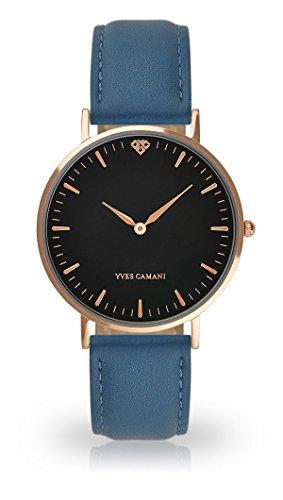 Yves Camani Amelie donna orologio da polso al quarzo analogico Rosegold quadrante cassa in acciaio nero (pelle–azzurro)