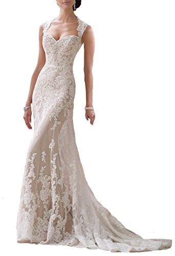 Changjie Damen Schatz A-Linie langes Brautkleid Schl¡§1sselloch Zur¡§1ck Spitze Hochzeitskleider
