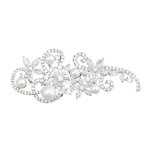 QUKE Silber-Ton künstliche Perle Klar österreichische Swarovski Element-Kristall Brosche und Anstecknadel